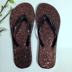 Shoes - NEW Brown Glitter Flip Flops Sandals Size 6